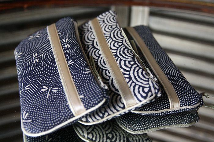 étui à lunettes tissu japonais indigo motifs traditionnels : Etuis, mini sacs par byzoon