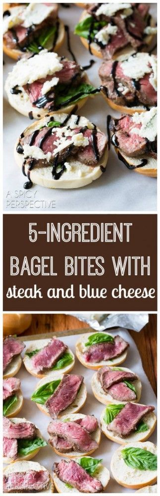 Must-Make 5-Ingredient Bagel Bites with steak and blue cheese on ASpicyPerspective.com