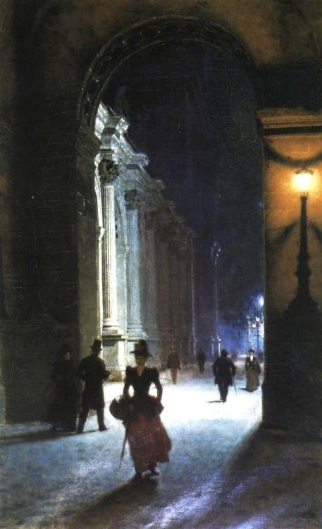 enchantedsleeper:  Louvre at Night (1892), Aleksander Gierymski