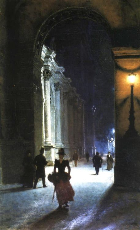 enchantedsleeper:  Louvre at Night (1892), Aleksander Gierymski