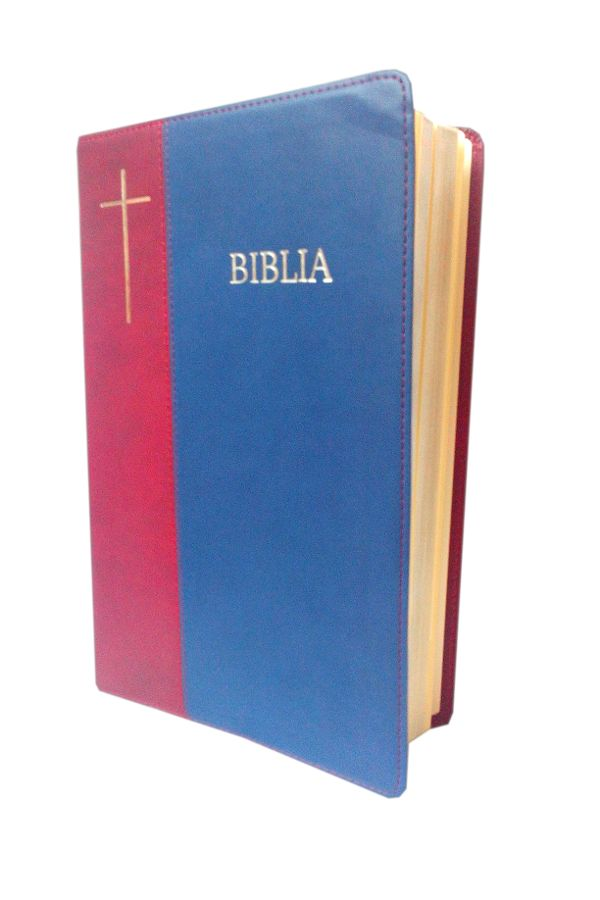Biblia de lux, mare, coperta imitatie piele, visiniu | bleumarin, argintata, cuv. lui Isus cu rosu [SI 073 P]