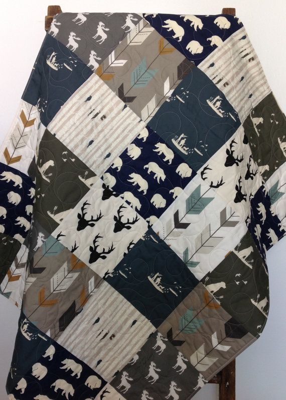 Baby Quilt Boy Dogs Ducks Bear Moose Deer Guns Buck by CoolSpool
