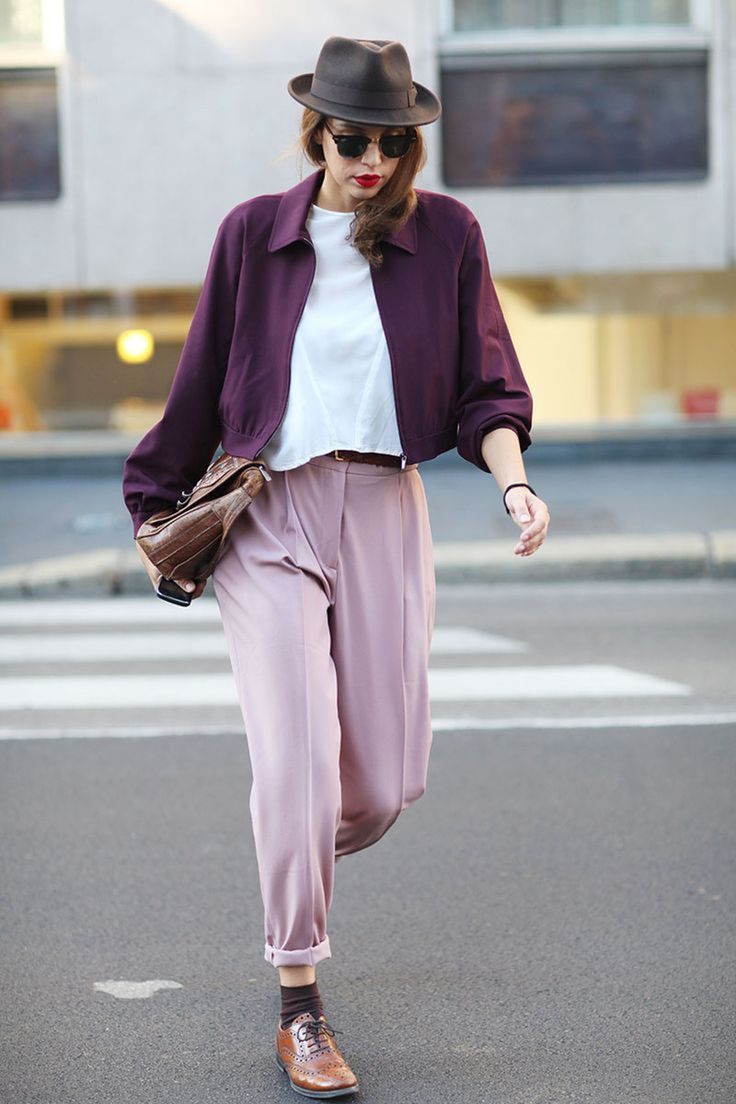 Violet jacket coral pants white blouse. Brown shoes purse. Summer street style women fashion clothing @roressclothes apparel closet ideas ladies outfit  city clothes