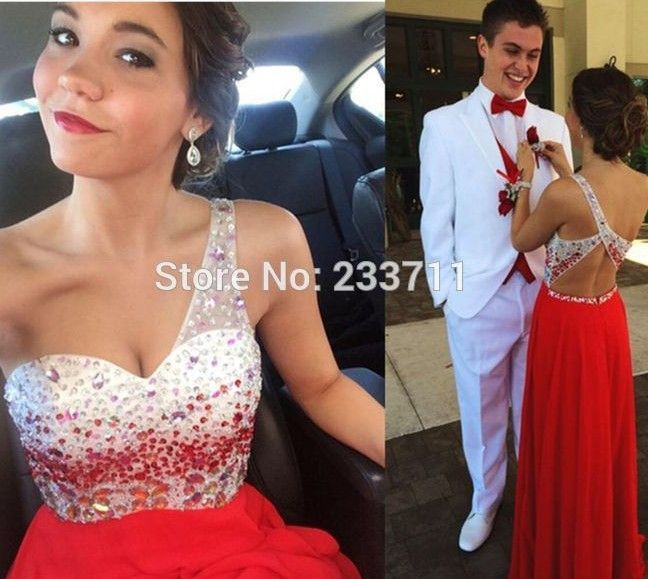 Sexy A Line One Shoulder Ombre Chiffon Beaded Cheap Maroon Long Red Prom Dresses 2016 Party Vestido Largo Backless Court 6303