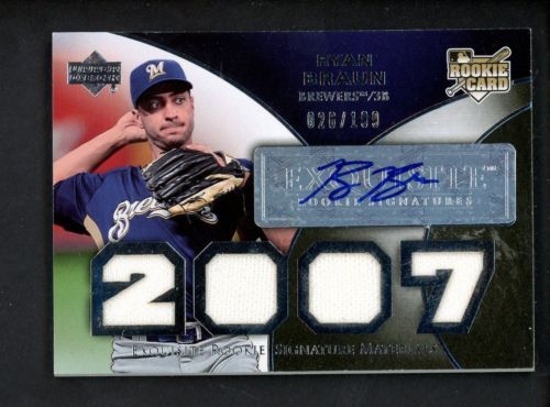 2007 Exquisite Ryan Braun Rc Rookie Quad Jersey Auto 26199