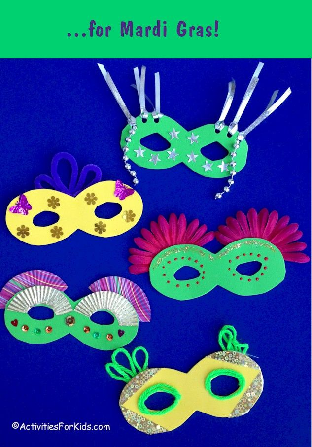 25 best images about mardi gras crafts activities on for Mask craft for kids