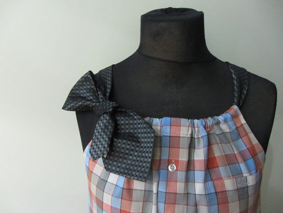 Upcycled Clothing / Orange, Blue and Beige Plaid Boyfriend Tunic Tank Top with Two Necktie Shoulder Straps / Women Tops Tank / Dress Shirt