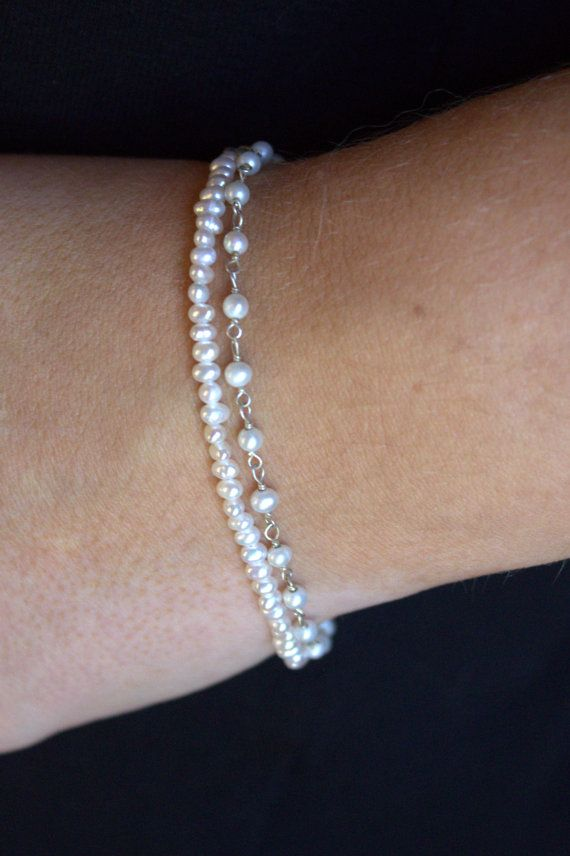 Parel armband Multi strand parel kralen armband door JDunneStudio