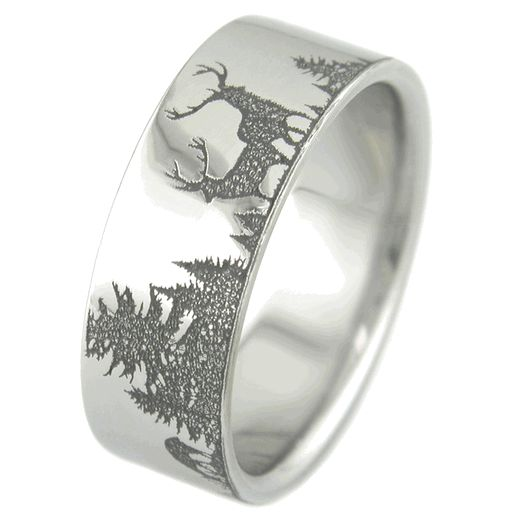 mens laser carved titanium ultimate deer hunting ring engraved wedding ringscamo - Mens Camo Wedding Rings