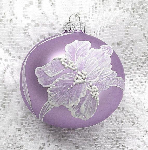 Soft Violet Hand Painted 3D MUD Irises Ornament 266 - SOLD!