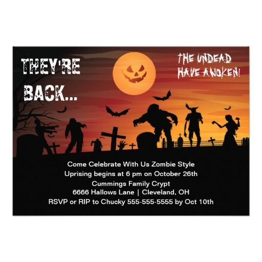 Graveyard Zombie Halloween Party Invitation. How will you survive the coming zombie apocalypse? Easy with this graveyard scene filled with zombies Halloween party announcement. This is perfect for any zombie themed Halloween party or zombie birthday party or World Zombie Day. This Halloween invite features a graveyard background with black zombie silhouettes and pumpkinish smiling moon.  #zombie #halloween #party