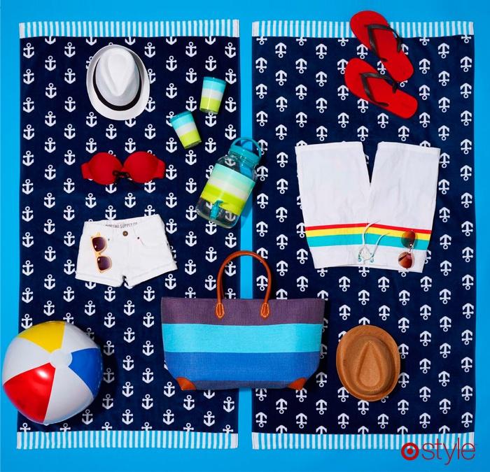Hot Date Not Included | own it: anchor beach towel. sunnies. white cutoffs. red bandeau. white fedora. flip flops. beach ball. beach bag, beverage dispenser and straw fedora