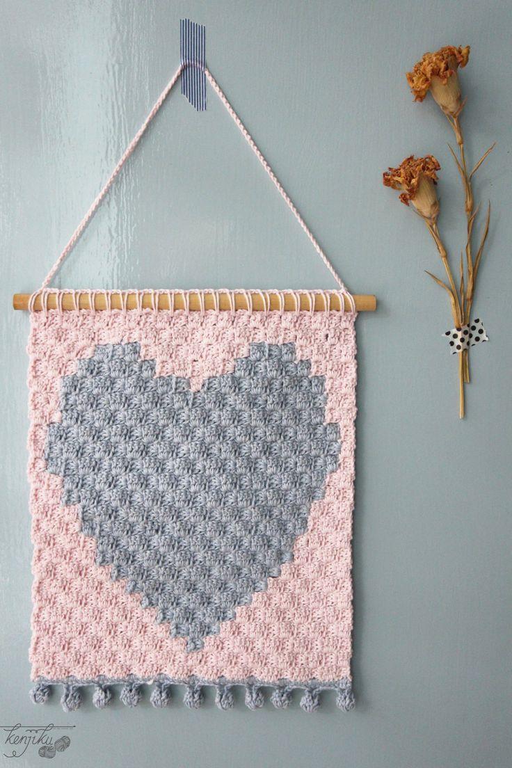Heart crochet wall hanging | heart home decor | heart wall decor by KenjikuMade on Etsy
