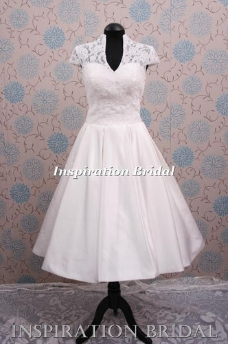 wedding dress short 60s 50s 1950s vintage 1303 lace tea length new short sleeves