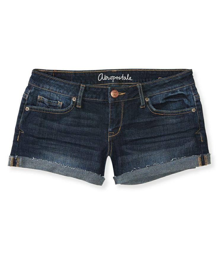 Dark Wash Cuffed Shorty Shorts - Aeropostale