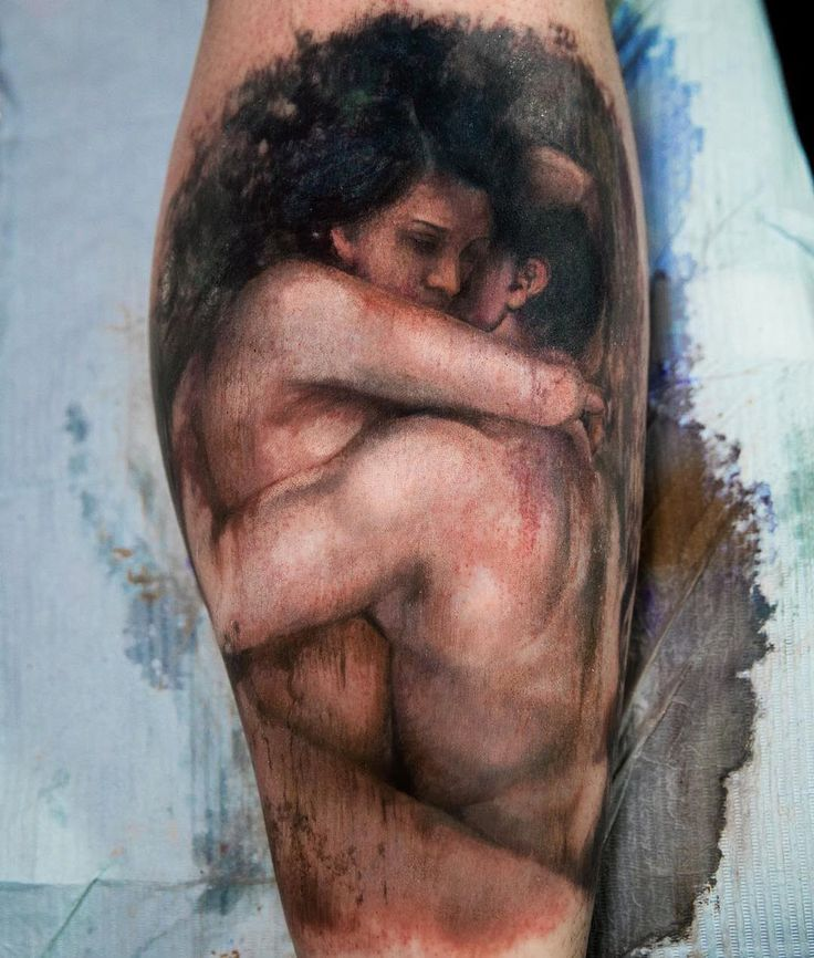 Couple Embracing, Tattoo Based on a Painting | Best tattoo ideas & designs