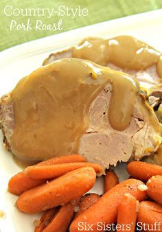 Slow Cooker Country Style Pork Roast Recipe on SixSistersStuff.com- a quick and easy crockpot recipe!