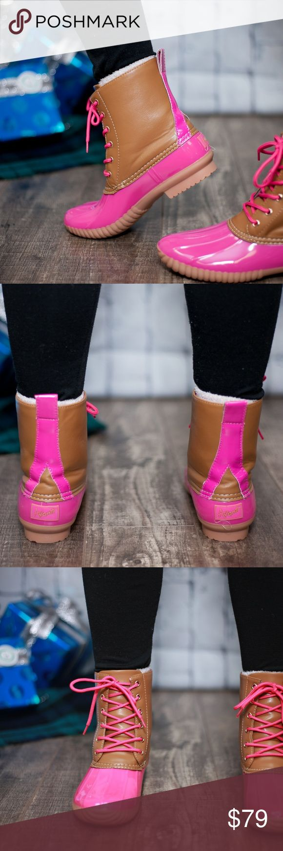 Hot Pink Duck Boots This listing is for pink. These are selling like crazy!! $79 each or $130 for 2 pairs. Other colors available  Select lining in each boot to keep you comfy. Stitched synthetic rubber sole for durability and grip  Price FIRM unless bundled. Kyoot Klothing Shoes Winter & Rain Boots