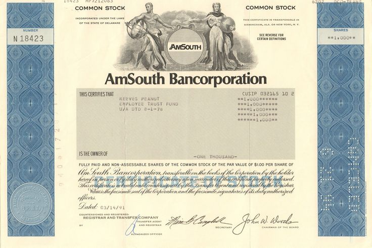 AmSouth Bancorporation stock certificate 1990's