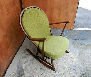 Charming Vintage Ercol Rocking Chair   Windsor, Dark, Solid Elm, Green Cushions 50`s