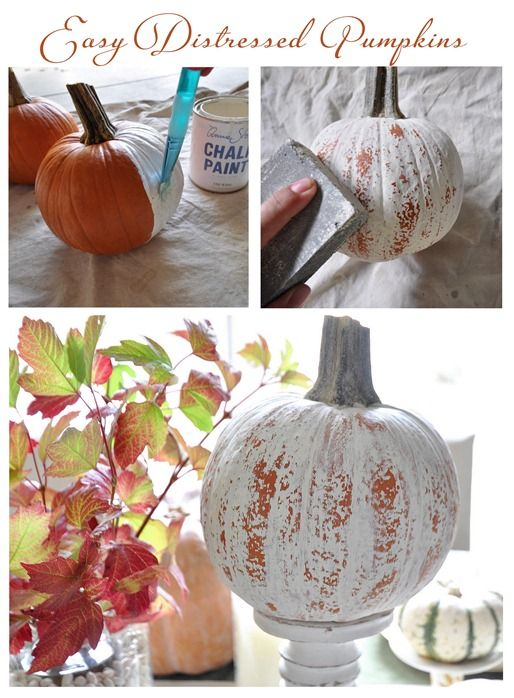 DIY distressed pumpkins - creepy chic! #Halloween: Crafts Ideas, Easy Distressed, Fall Decor, Fall Crafts, Pumpkins, Paintings Pumpkin, Distressed Pumpkin, Autumn Crafts, Halloween