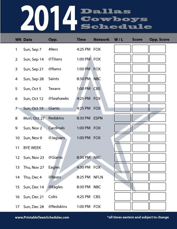 2014 Dallas Cowboys Football Schedule Wallpaper