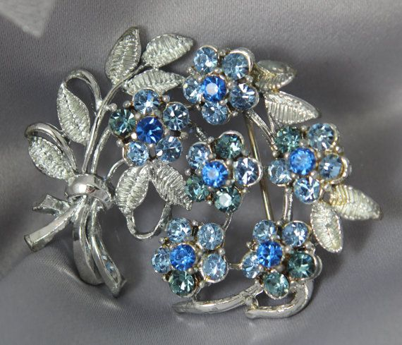 Vintage 1950s Silver & Sapphire Floral by ButterflyEffectInc, $30.00