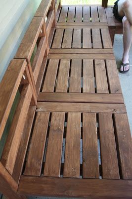 More Like Home: Our New Outdoor Sectional. Ana White's plan but adapted to 2x4's rather than 1x4's