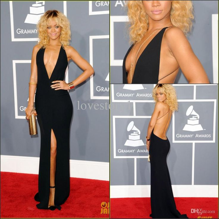 Wholesale Evening Dress - Buy Fashion Rihanna Sexy Deep V-neck Black Open Back Sheath Long Evening Dress Grammy Awards Red Carpet Celebrity Evening Gowns Prom Dress, $119.96 | DHgate