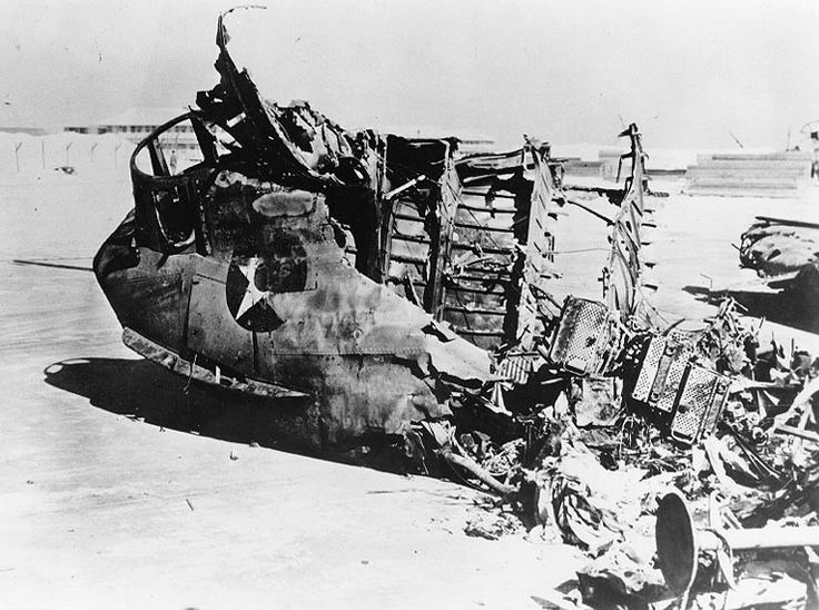 Burned out nose section of a PBY-3 Catalina destroyed on 7 Dec 1942 at Midway by shelling from Japanese destroyers Ushio and Sazanami covering the retirement of the Pearl Harbor strike force.