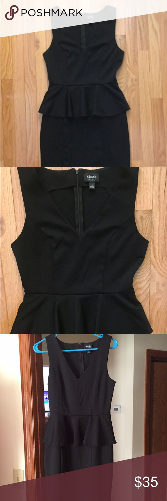 Nicole Miller Black Peplum Dress Nicole by Nicole Miller black peplum style dress. NWOT.  Bought for an event and didn't end up wearing it.  Super flattering dress, great for wedding guest, showers, even work. Nicole by Nicole Miller Dresses Midi