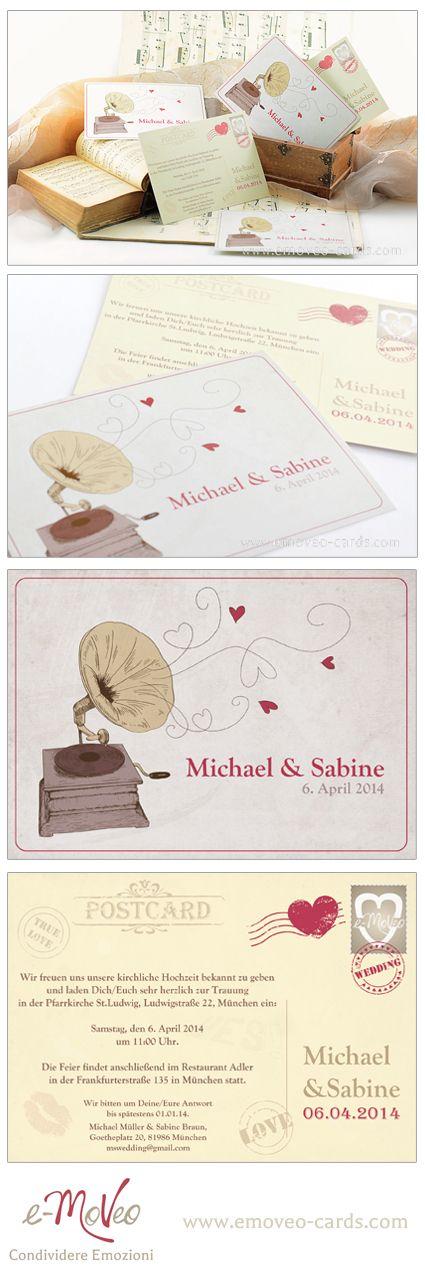 Vintage wedding invitation card Partecipazione matrimonio vintage Vintage Hochzeitseinladungen by e-MoVeo Cards #einladungen #weddingcards #partecipazionimatrimonio www.emoveo-cards.com