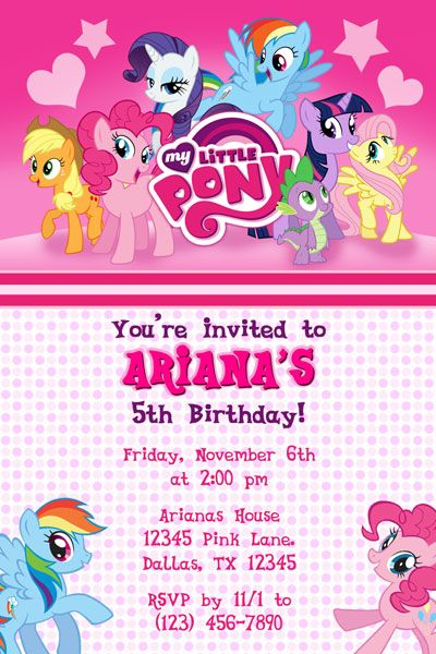 Best Invitations Images On Pinterest Birthday Party - My little pony birthday party invitation template