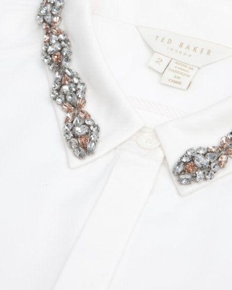 Embellished collar shirt - White | Tops & T-shirts | Ted Baker UK