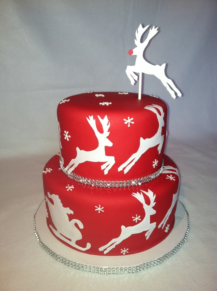 Best 25 red fondant cakes ideas on pinterest el velvet for Iced christmas cakes