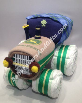 Tractor Diaper Cake, Unique baby shower gift ideas #tractor