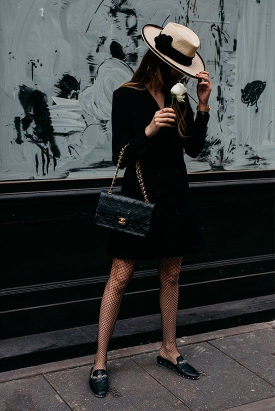 Straw hat, black blazer dress, fishnet tights, black loafer mules, black chain strap bag - Fall outfits, fall fashion trends 2017, fall fashion, street style, comfy outfits, work outfits, office wear, party outfits, night outfits, all black outfits.