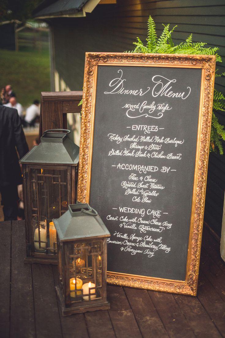 Large Gold Framed Chalkboard for your dinner menu. Rehearsal dinner, wedding, family reunion, corporate event, etc. #wedding Charlottesville, VA