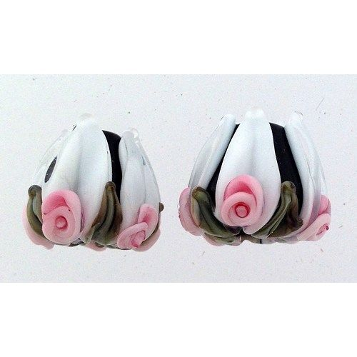 "Adorable pair of tulip beads, perfect for earrings or bracelets.  Includes: 2 tulips shaped beads approximately 15 mm from hole to hole  Beads were wound on a 3/32"" mandrel and kiln annealed for stren"
