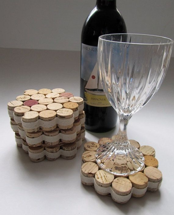 Honeycomb Wine Cork Coasters With Natural by LizzieJoeDesigns