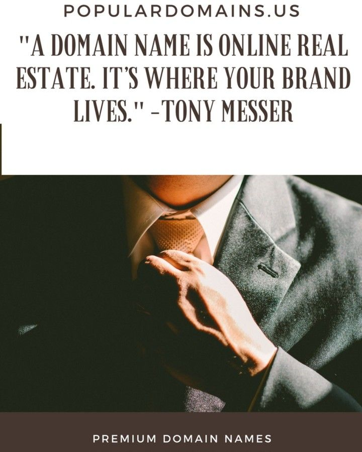 """A domain name is online real estate. It's where your brand lives."" -Tony Messer  #quotes #domainname #premiumdomains #premiumdomainname #premium #domains #.com #sedo #flippa #godaddy #afternic #ebay #paypal #appraised #resale #flip #resell #valued #investment #investor #appraisal #repin #pin #repost #domainforsale"