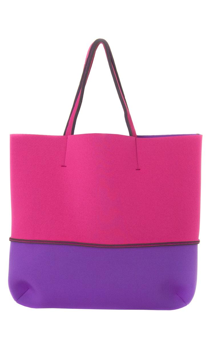 Leghilà Bi-color neoprene Beach Bag - Pink & Purple #bag