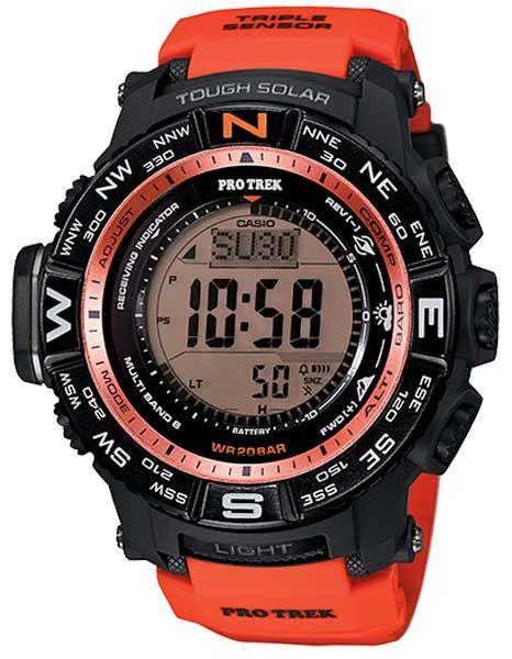 Casio ProTrek Solar Atomic Outdoor Activity Watch - Red Orange - 200 Meters