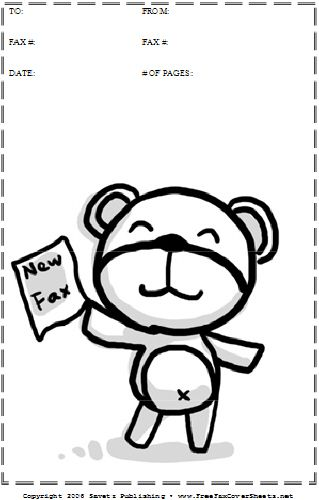 this printable fax cover sheet shows a cute cartoon teddy bear holding up a new fax  perfect for
