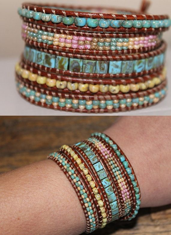 He encontrado este interesante anuncio de Etsy en https://www.etsy.com/es/listing/226938392/leather-beaded-wrap-bracelet-glass-beads