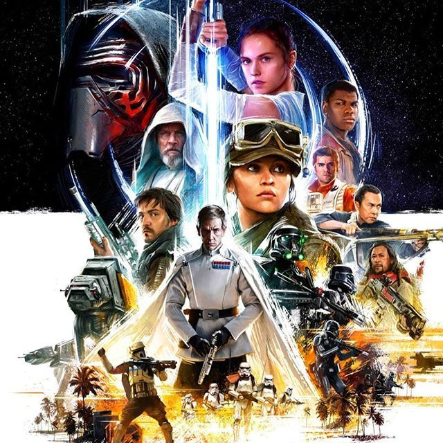 Star Wars Celebration Europe 2016 Art  This is a majority of the key art piece that will be used for the event in London's Excel Centre from July 15 to 17  It debuted on this last episode of The Star Wars Episode on YouTube.  The poster includes various characters from the premiered Rouge One trailer and The Force Awakens, but mostly from Rouge One, which makes it seem as if the celebration may focus mainly on the upcoming movie this December. • #StarWarsArt