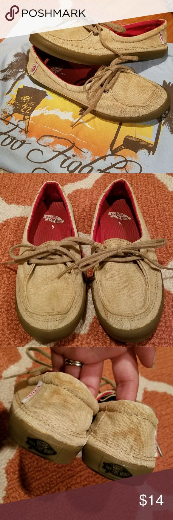 Vans Boat Shoes Gently used slip-on shoes, tan color, burlap-like material. I ran these through the wash, but the color ram a little and stained the back and a little of the toe area.  I loved to wear these shoes with shorts in the summer time, but they are half a size too small for me. They're size 5, true to size.  Accepting offers! Vans Shoes Flats & Loafers