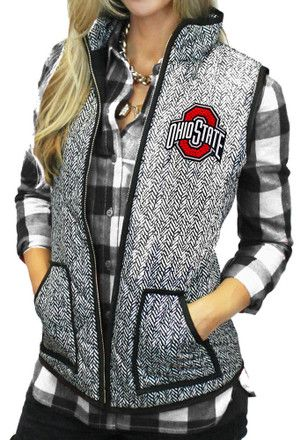 Gameday Couture The Ohio State University Womens Grey Herringbone Quilted Vest Vest