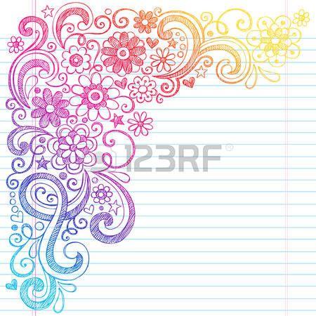 花の花、ツル、まんじ手描きベクトル イラスト デザイン素材が並ぶスケッチ ブック [背景に用紙といたずら書き学校大ざっぱなノートに戻るフラワー パワー…