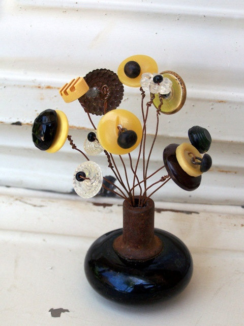 original assemblage vintage door knob bead u0026 button flowers via etsy - Vintage Door Knobs